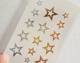 Gold Stars #1 - Temporary Tattoo // Gold // Metallic // Summer // Party // Cool // Fun // Gifts