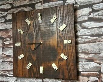 Rustic reclaimed timber domino clock walnut waxed