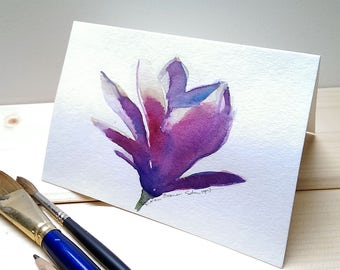 Magnolia greeting card, original watercolor card, handpainted flower greeting card, modern magnolia painting
