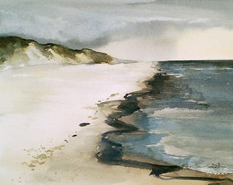 Cape Cod beach painting, shore original watercolor, beach scene, cape cod national seashore, cape cod cliffs buffs, beach watercolor