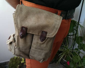 Vintage Green Canvas Belt Bag, Traditional Bulgarian Military Belt Bag, Ammo Pouch, Small Hunting Bag from 1970s