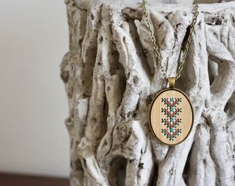 Bamboo Wood Cross Stitch Necklace Kit with Arrow Design * Modern Embroidery Necklace DIY Kit
