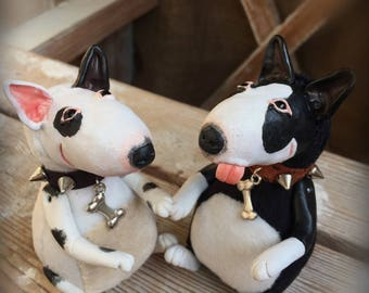 Bullterrier. Soft clay plush toy. Dog doll
