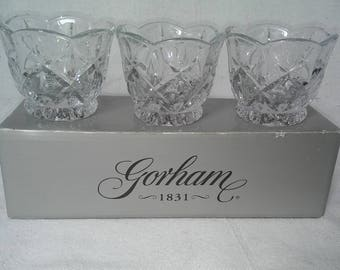 Gorham Lady Anne Votives 3 piece crystal set