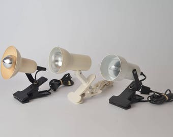 Set of three vintage clamp lights / spot lamps, 1970s / 1980s