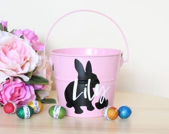 Easter etsy au personalised easter basket easter egg metal tin easter bunny bucket egg hunt negle Image collections