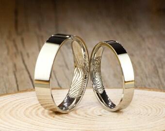 Custom Fingerprint Rings, Simple Sliver Wedding Titanium Rings Set, Modern Wedding Bands
