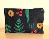 Floral blue makeup bag  Cotton floral print fabric Cosmetic bag Cotton anniversary Navy red turquoise yellow Travel pouch