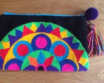 Wayuu Clutch - Handmade - BLACK SUNNY FLOWER