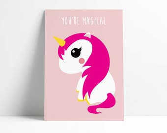 Postcard Unicorn Pink You Are Magical