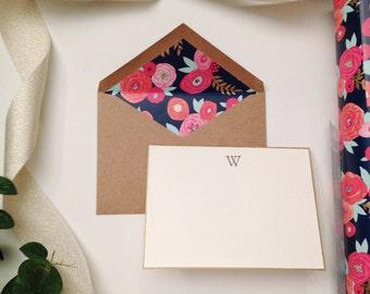 Monogram Card Set - Hand Stamped//Lined Envelopes//Stationery//Thank You Cards//Bridal Shower//Baby Shower//Wedding Card//Initial//Custom