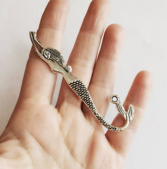 Large Silver Mermaid Charm / 3.25 Inch Double Sided ...
