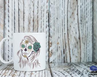 Sugar Skull Coffee mug, Day of the Dead, Dia De Los Muertos Coffee Mug, Skull Art, Halloween Coffee Mug, Skull Mug