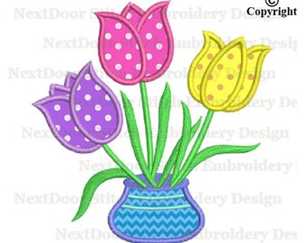 Tulip embroidery applique design, tulips flower in vase machine embroidery design,  fls-048