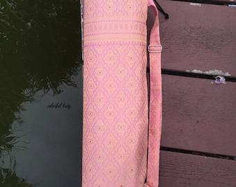 Handmade Sweet Pink Color Thai Silk Woven Yoga and Pilates Mat bag Carrier Strap
