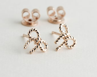 Rose Gold Plating Bowtie, Sterling Silver Base, Minimalist Earrings, Petite Studs, Rose Gold Earrings, Dainty Earrings