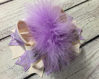 Ivory And Lilac Over The Top Hair Bows Girls Boutique Hair Bows Over The Top Bow Lilac Hair Bow Baby Headband Princess Hair Bow