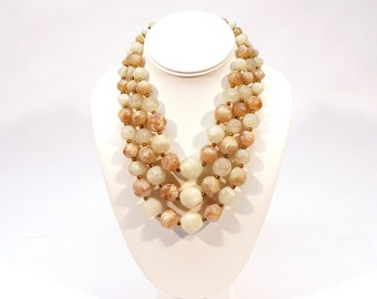 Vintage 1960s Cream and Brown Marbled Bead 3 Strand Necklace, Costume Jewelry