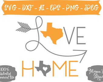 Texas Home SVG - Texas SVG - Texas Love SVG - Texas Clipart - State svg - Love svg - Files for Silhouette Studio/Cricut Design Space