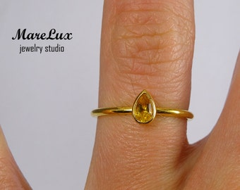 Yellow Gold Plated Natural Citrine Ring, 5x3 mm Pear Cut Yellow Citrine Stacking 24K Gold Fill Ring, Citrine Classic Stackable Gold Ring