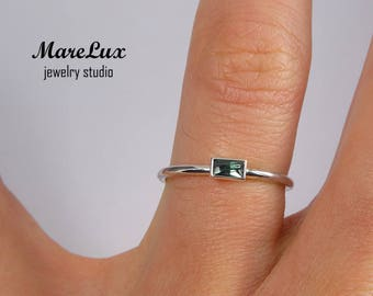 Baguette Cut Tourmaline Silver Ring, October Birthstone Synthetic Green Tourmaline Ring Stacking Sterling Silver Dainty Thin Tourmaline Ring