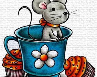 Tea Mouse Digital Stamp by Sasayaki Glitter