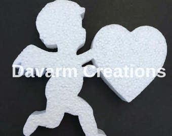 Cupid/Cupid Heart/Cupid Cutout/Valentines/Cupid Styrofoam/Love Decoration/Cupid Foam/Wedding Decorations/Glitter Cupid/Cupid Centerpiece