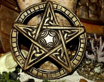 Pentagram carved (pentacle) gold with suspension