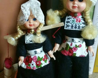 Dutch Girl Dolls/Handmade in Volendam/Souvenir From Holland/Vintage 1960s Plastic Dolls with Blinking Eyes/Collectible Dutch/Haunted Dolls