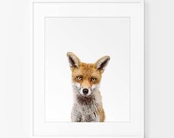 Woodland Animal Decor, Fox Print, Digital Download, Printable Poster, Yellow Grey Children's Nursery Wall Art , Kids Print, Fox Photograph