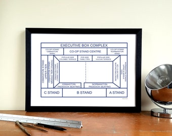 "Derby County A3 Minimalist Graphic Design Art Print - Baseball Ground ""Ticket Stub"""