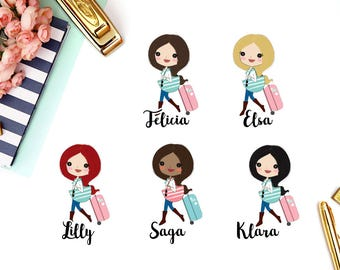 Travel, Suitcase | Girl (matte planner stickers, perfect for planners)