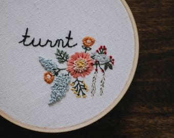 Turnt Floral Embroidery Hoop