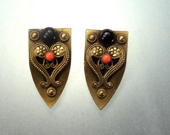 Pair Brass Etruscan Style Dress Clips Brass Black and Orange Coral Glass Cabochons