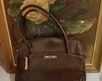 Unused Dark brown faux leather kelly handbag large size pin up/mod 50/60's fashion