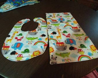 Noah ark bib and burp cloth set