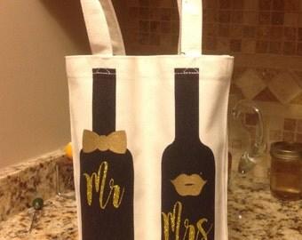 Decorative Double Wine Tote/Wedding/Wedding