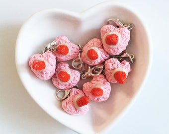 Heart Shaped Strawberry Shortcake Polymer Clay Charms