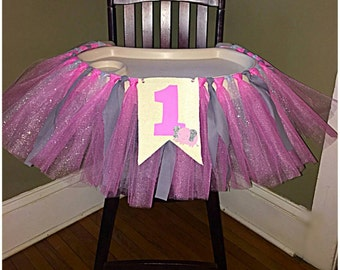 First Birthday Party Highchair Skirt - My Little Peanut