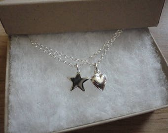 Star and Heart Necklace set (2 Necklaces)
