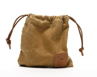 Waxed Canvas Golf Valuables Field Pouch in Tan Golf gifts personalized monogrammed