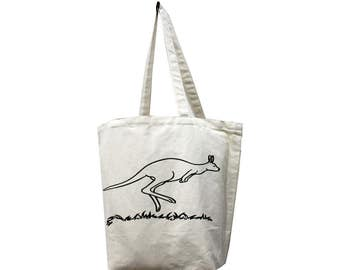 Clearance Sale! Canvas 'Kangaroo' eco friendly Reusable Shopping Grocery Library Tote Bag