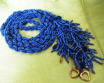 Long Beaded lariant Purple, Beads crochet long necklace, Beaded lariant Purple necklace, Beads lariant long, Seed beads jewelry Purple