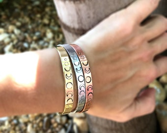 Moon Phase Cuff, Metal Bracelet, Hand Stamped Cuff, Yoga Bracelet, Moon Bracelet
