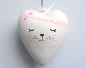 Ceramic Cat Ornament, Heart, Gift for Her, Cat Lovers, Heart Gift, Heart Ornament, Valentines Heart, Valentines Day Gift