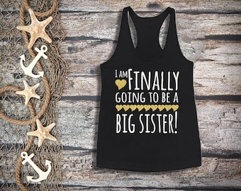 Finally big sister tank top;girl's black tank top;pregnancy announcement;big sister gold glitter;sibling shirt;big sister shirt;