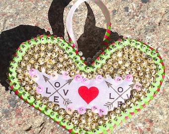 "Handmade Sequins Beaded Christmas / Valentines Day ""LOVE"" Heart Ornament"