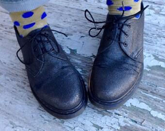 Black Sparkly Vintage Doc Marten 39 // Black Doc Martens Wm 8 // Low Top Docs with Sparkles (Black) 39 //   Doc Marten Dress Up