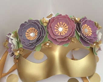 Gold  Fairy Mask with Purple Flowers