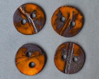 4 ceramic buttons, brown, orange, OOAK, handmade
